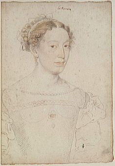 Unknown woman, probably a Lady-in-Waiting to Catherine de Medici by studio of François Clouet       François Clouet's studio drew this color portrait of a woman who was probably one of Catherine de Medici's Ladies-in-Waiting.