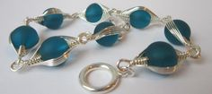 Aquamarine Sea Glass And Silver Wire Link by AraliaDesigns on Etsy, $20.00