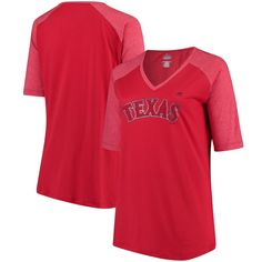 8c08006f0 Texas Rangers Majestic Women s Plus Size Quick Hands Half-Sleeve V-Neck  Raglan T-Shirt - Red