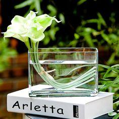 透明玻璃花瓶长方形条缸水培玻璃花瓶家居玻璃摆件简约时尚现代