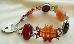 Beautiful Victorian Scottish agate and cherry amber sterling bracelet with vintage heart padlock by josefa