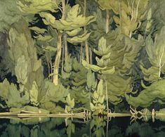 """rubenista: """"Shore Pattern by A. Casson This remarkable & compelling work by century Canadian artist & Group of Seven member A. Casson is currently exhibited in the McMichael. Tom Thomson, Canadian Painters, Canadian Artists, Landscape Art, Landscape Paintings, Group Of Seven Art, Group Of Seven Paintings, Illustrations, Illustration Art"""