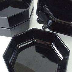 4 arcoroc octime salad plates black glass novoctime dinnerware made ...