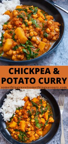 This hearty vegan chickpea and potato curry is mildly spiced, fragrant and made from mostly simple, basic store cupboard ingredients. So much cheaper than a takeaway and kinder on your wallet! Tasty Vegetarian Recipes, Curry Recipes, Veggie Recipes, Indian Food Recipes, Whole Food Recipes, Cooking Recipes, Healthy Recipes, Indian Potato Recipes, Healthy Snacks