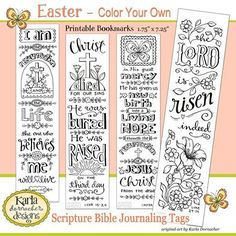 Four Easter Verses for Bible Journaling and New Bookmarks..in ETSY shop.