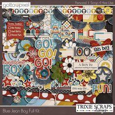 Blue Jean Boy Full Digital Scrapbook Page Kit at Gotta Pixel. www.gottapixel.net/
