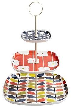 Orla Kiely Ceramic 3 Tier Cake Stand - Multi Stem
