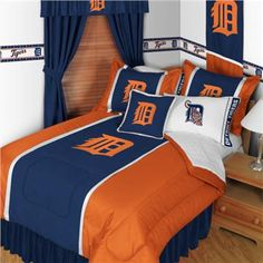 Find a tremendous selection of Detroit Tigers bedding and accessories including Tigers comforters, Tigers sheet sets, drapes, valances and more at your online MLB baseball bedding headquarters, Domestic Bin!