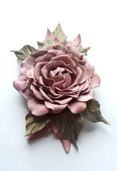 Leather  brooch rose decoration for women от DreamsAboutSummer