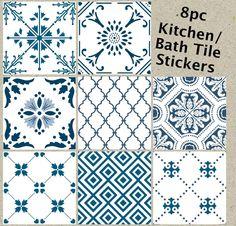 Tile Sticker Decorative Vinyl 8pc MIX: Blue and White tapestry #Handmade