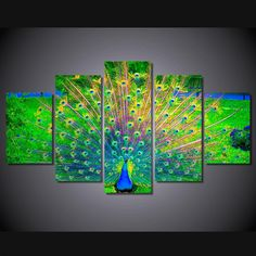 Room Decor Picture Wall Art Canvas Painting Peacock Open Green Screen Poster And Prints Artwork Canvas Art Painting