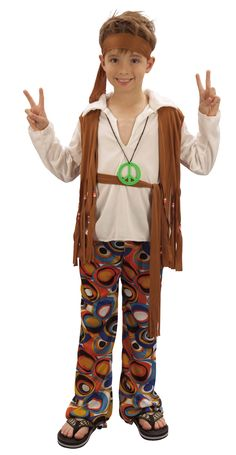 Hippy Costume for Boys - three sizes from 4 to 13 yrs. 60s Costume, Twin Costumes, Hippie Costume, Party Costumes, Hippie Boy, Hippie Bohemian, Dress Up For Boys, Dress Up Day, Party
