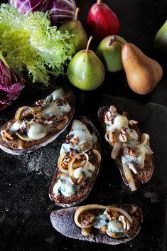 NYT Cooking: Gorgonzola Walnut Crostini With Pear Salad