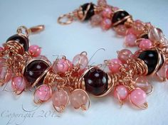 Copper Bracelet with Pink Cherry Quartz and Pink by MLBeckerDesign