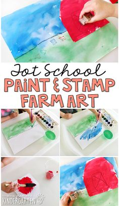 This paint and stamp farm is an awesome multimedia art/fine motor activity. Perfect for a farm theme in tot school, preschool, or the kindergarten classroom.