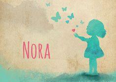 Originele geboortekaartjes meisje met hartjes en vlinders door HierBenIk.be | retro | vintage | silhouet | babykaartje