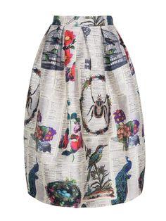 Multicolor High Waist Floral Print Midi Skirt