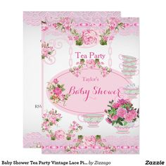Baby Shower Tea Party Vintage Lace Pink Floral D Card