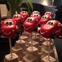 Cars cake pops that resemble Lightning McQueen for my grandson's birthday