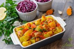 Cartofi la cuptor cu turmeric, morcovi si usturoi