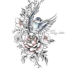 60 Trendy Mandala Bird Tattoo Drawings The post 60 Trendy Mandala Bird Tattoo Drawings appeared first on Best Tattoos. Jasmine Flower Tattoos, Bird And Flower Tattoo, Flower Tattoo Designs, Flower Tattoo Shoulder, Flower Hip Tattoos, Forearm Flower Tattoo, Tattoo Floral, Floral Tattoo Design, Tattoo Flowers