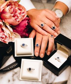 We have created a Sapphire lovers heaven at Charles Rose. Visit one of our boutiques today to experience our quality and value. Dress Rings, Boutiques, Jewelry Stores, Sapphire, Jewelry Design, Heaven, Lovers, In This Moment, Create