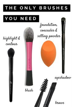"It's easy to get overwhelmed by the insane amount of makeup brushes out there. And it seems like every ""kit"" is always missing a brush or two. I've put together my list of essential makeup brushes, and they're all budget friendly! For $24 you'll have all the brushes you need to create your makeup look! Click through for the details!"