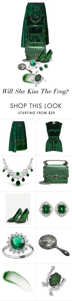 """""""Emerald Contest"""" by shamrockclover ❤ liked on Polyvore featuring Sacai, Dsquared2, Bling Jewelry, Fendi, WithChic, SOPHIE MILLER, Lipstick Queen and BillyTheTree"""