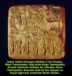 İndus Vadisi Harappa Kültürü..7 Kız Kardeş, Ülker Takımyıldızı. Sağ üstte Boğa Takımyıldızı, Ortada Venüs'ün önünde diz çökmüş, Orion Takımyıldızı. Başında üçlü bir taç taşıyan ve hayat ağacının ortasında duran Venüs..