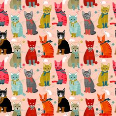 Cat Fabric -Kittens In Mittens // Smaller Version Of Cats Wearing Knitted Socks By Andrea Lauren- Cotton Fabric By The Yard With Spoonflower