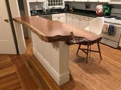 New Growth redwood kitchen counter island and live edge desk. Installed on top of kitchen counter and extended with raw redwood slab. Square Kitchen Tables, Kitchen Benches, Home Decor Kitchen, Diy Home Decor, Live Edge Wood, Wood Countertops, Home Room Design, Kitchen Cabinet Design, Kitchen Remodel
