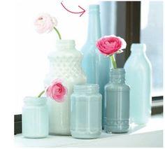 Pinterest Inspired Project #1: Painted Glass Bottles - HoneyBear Lane