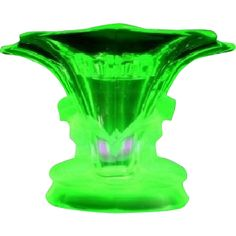 LARGE Walther & Sohne 1930s German Art Deco Uranium Green Glass Vase two piece flower set