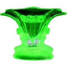 LARGE Walther & Sohne 1930s German Art Deco Uranium Green Glass Vase two piece flower set