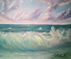 (c) A Cloudy Seascape by Marwan Kishek. Oil on canvas 20 Seascape Paintings, Oil Paintings, Crashing Waves, Oil On Canvas, Coastal, Clouds, Sky, Fine Art, Photo And Video