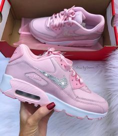 competitive price 1227a 4068e Swarovski Pink Nike Air Max 90 Women Girls Shoes