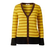 Orla Kiely Striped Peplum Cardigan  V neck stripe button front cardigan with contrast Olive Green or Brown front neck rib binding and black rib cuffs and Peplum waistband.