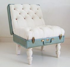 Junk Suitcases Transformed To Chairs, Typewriters To Lamps (Photos) : TreeHugger Modern Furniture, Recycled Furniture, Furniture Ideas, Vintage Furniture, Diy Furniture Upcycle, Funny Furniture, Teen Bedroom Furniture, Upcycle Home, Reclaimed Furniture