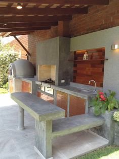 10 Amazing Diy Grill And Bbq Island Plans - House & Living Modern Outdoor Kitchen, Outdoor Kitchen Bars, Outdoor Spaces, Outdoor Living, Outdoor Decor, Indoor Outdoor, Grill Diy, Parrilla Exterior, Dirty Kitchen
