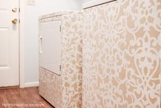 Donatella Damask used to stencil washer and dryer!