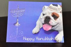 English Bulldog Hanukkah Photo Greeting by PorkchopsGreetings, $2.25
