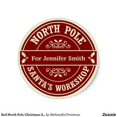 Red North Pole Christmas delivery gift sticker