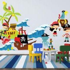 Kit Cameretta Pirati Pirates Wall Sticker Adesivo da Muro Componibile