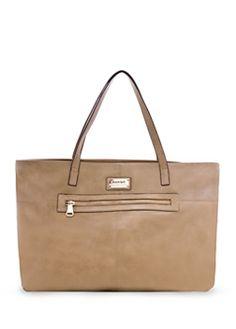 Tan Zip shopper bag