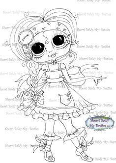 INSTANT DOWNLOAD Digital Digi Stamps Big Eye Big Head Dolls Digi  My Besties Fancy By Sherri Baldy