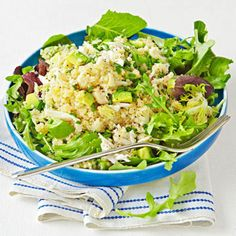 Crab-and-Quinoa Salad with Citrus Vinaigrette: In medium bowl, whisk together 1 Tbsp grapefruit juice, 2 tsp EVOO, 1 tsp Dijon; toss with 1/2 cup cooled cooked quinoa, 2 oz canned crab meat, & 1/4 avocado, chopped. Serve over mixed greens and sprinkle w/ 1 Tbsp chopped chives.