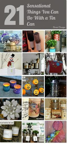 A Gazillion & One DIY Upcycle Projects Using Tin Cans - Don't kick all your tin cans to the curb just yet! First see all these amazing upcycle projects. Tin Can Crafts, Crafts To Make, Fun Crafts, Crafts With Tin Cans, Recycled Tin Cans, Recycled Crafts, Diy Craft Projects, Craft Tutorials, Craft Ideas