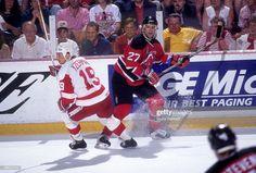 c9855cb16 Scott Niedermayer  27 of the New Jersey Devils and Steve Yzerman  19 of the