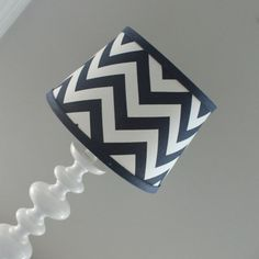 New modern design! Custom lamp shades available to match your Baby Milan bedding or any decor. Lamp shade has an opening that lays on top of Custom Lamp Shades, Navy Chevron, Standard Lamps, Chandelier Shades, Navy And White, Navy Blue, Lamp Bases, Boy Room, Modern Design