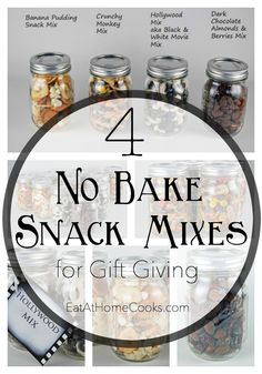 The No-Bake, No-Cook, No-Time Gift Solution – 4 Snack Mix Recipes in a Jar christmas cooking gifts Mason Jar Meals, Mason Jar Gifts, Meals In A Jar, Mason Jars, Gifts In Jars, Jar Food Gifts, Food Jar, Snack Mix Recipes, Snack Mixes